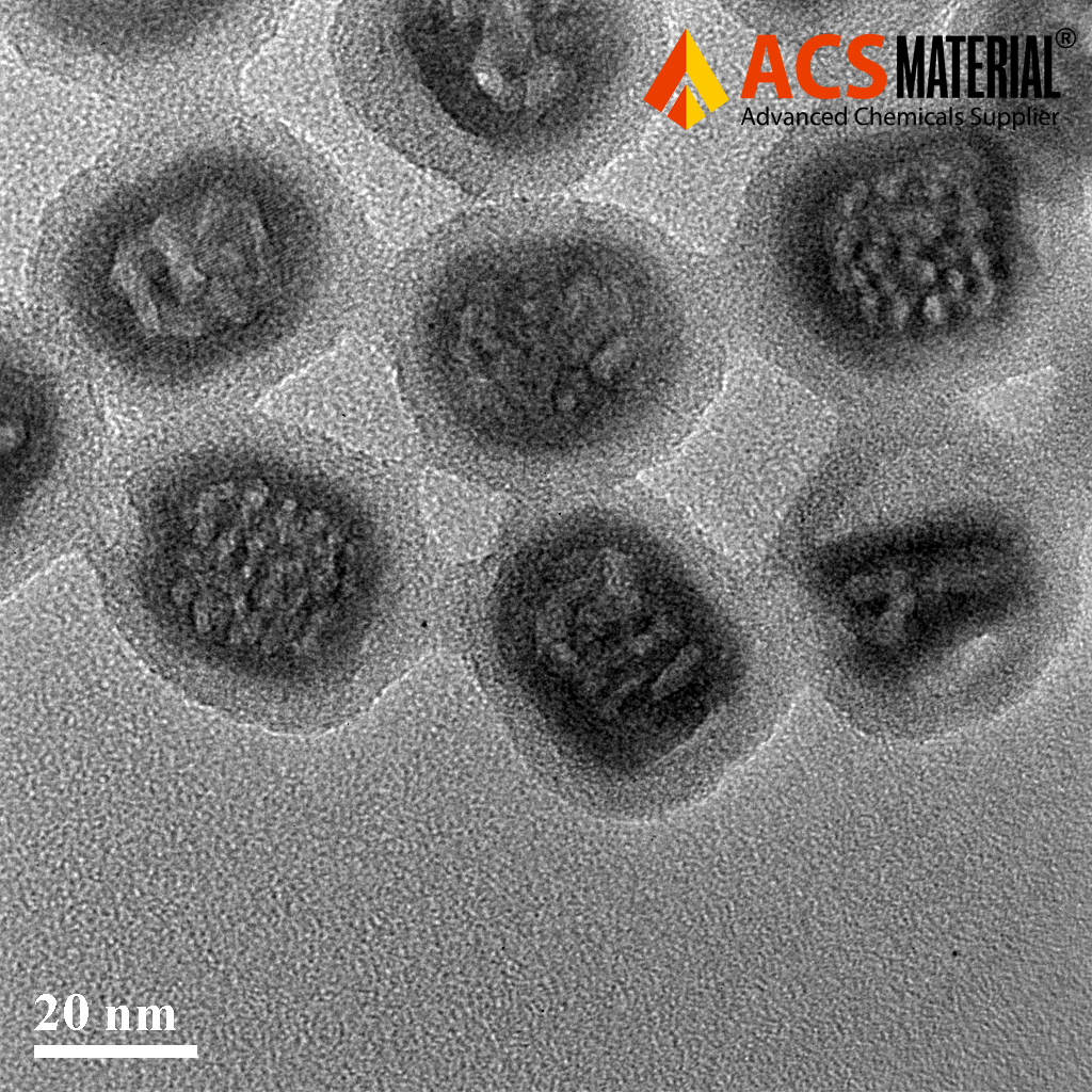 TEM Image of ACS Material Mesoporous Silica-Coated Upconverting Nanoparticles